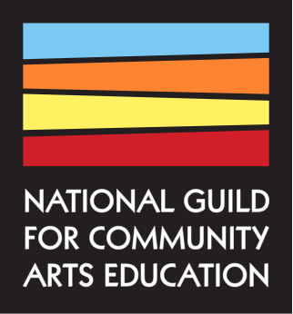 logo of national guild for community arts education, colored lines on black background