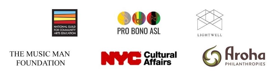 Logos for National Guild, Pro Bono ASL, The Music Man Foundation, Lightwell, and Aroha Philanthropies